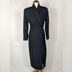 John Roberts Vintage Suit Dress Faux Wrap Midi